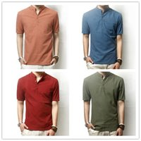 Wholesale Men t shirts linen shirt Short Sleeve colors Men tops tee slim Men Casual breathable t shirts for men D1262