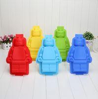 Wholesale Big Robots Silicon Ice Cube Tray Cake Baking Moulds Soap Molds Minifigure Man Brick Silicone Ice Mold