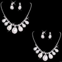 Jewelry Sets beaded bridal necklace - 2015 Rhinestone Bridal Jewelry Sets Discount Bling Beaded Cheap Wedding Party Necklace Earrings Bracelet Set Ring Shoulder Accessories