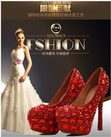 ballet flat women s - Red Luxury high heel wedding shoes women Genuine leather Diamond crystal platforms Glitter rhinestone studded wedge party pump prom shoes s