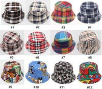 Cheap New Fashion Wholesale 10pcs Plaid Canvas Bucket Hats Children Kids Houndstooth Bucket Caps Baby Kid Topee Boys Hat Girls Topee Children Caps