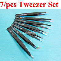 Wholesale 7pcs High quality Precision Anti Static Tweezers Different Sizes Angled Pointed Curved Straight Tweezer Kit Repair Tools Set