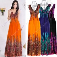 hawaiian dresses - New Fashion Women s Bohemian Peacock Tail Hawaiian V neck Long Beach Dress Sundress Summer
