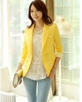Wholesale 2015 Spring and Fall New Arrival Korea Style Yellow Blazers coat for Women Candy Color Bottom Decoration Jacket