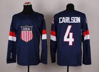 Cheap 2014 Sochi Olympic Team USA Hockey Jersey #4 John Carlson Uniform Navy Blue Hockey Wears Men National Team Uniforms with 1960 1980 On Sleeve