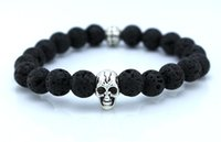 Wholesale new design yoga jewelry mm and ancient lava stone beads silver bracelet skull