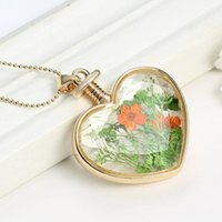 aromatic beads - Dried Flower Locket Heart Glass Bottle Pendant Necklace Sweater Jewelrys Excellent Aromatic Long Crystal Necklace Fit cm Beads Chain