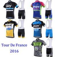 clothes dropship - Tour De France Cycling Jerseys Set Team Sky Lampre Merida Quick Step Tinkoff Saxo Bank Cycling Short Sleeve Bib Clothes Can Dropship