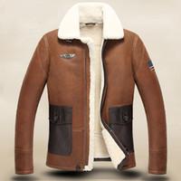 air jacke - Fall Men s leather motorcycle Air force Fur Men s sheepskin jacke