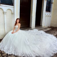 Wholesale Country Western Lace Wedding Dresses Spaghetti Straps Crystal Beading Wedding Gowns Sparkly Cathedral Train Bridal Gowns vestidos ZC