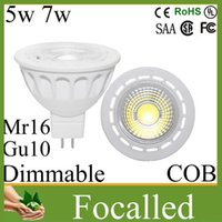 Wholesale High Power CREE Led Spotlight Cob w w Gu10 Mr16 Dimmable Led Lamp Bulb Lights lm beam angle warm cool white v v