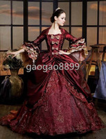 vintage style - New Classic Style Half Sleeve Wine Red Lace Appliques Vestido de Festa Floor Length Victorian Period Costume Gothic Dress Prom