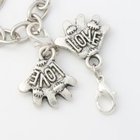 soccer jewelry - 17 x32 mm Tibetan silver Cheers Hand For Love Soccer Lobster Claw Clasp Charm Beads Jewelry DIY C960
