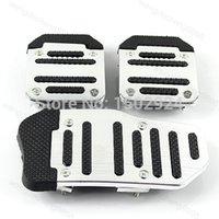 Wholesale 3Pcs Nonslip Car Auto Vehicle Accelerator Aluminium alloy PVC Foot Brake Pedal Cover Pad Footrests order lt no track