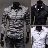Wholesale Mens Fashion Luxury Stylish Casual Designer Dress Shirt Muscle Fit Shirts colors Sizes