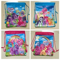 bag pony sale - 150pcs hot sale designs top quality my little pony frozen string backpack for kids school bag D503