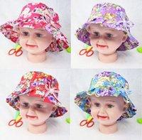 Wholesale Children s Bucket Caps Hats fashion sports visor ball cap Bucket hats kids girl boy summer beach sunhat cartoon cap sunbonnet party gift