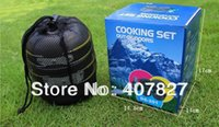 aluminium stock pots - Outdoor Cooking Set Portable Alloy Aluminium Camping Cooking Pot Set For person Picnic