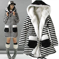 berber clothes - Casacos Femininos Winter girls Women Coat black and white stripe Thicken Cotton Berber Fleece Long Hooded Overcoat Female Clothes Abrigos