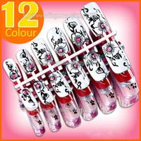 air brush designs - Hot sale Air Brushed Designer Pre design False Nail Tips with glue Number