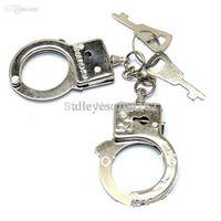 Wholesale Latest Fashion Mini Lovers Handcuffs Keychain Pair Love Couple Key Ring Romantic Solid Key Fob mini order usd