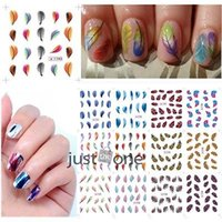 Wholesale Feather Water transfer nail sticker Beautiful Colorful Feather Nail Art Decal Stickers Fashion Tips Decoration New For Women Girl JIA162