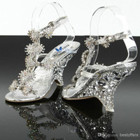 Wholesale 2016 Lady Bridal Wedding Shoes The Glass Slippe Female Wedge Heel silver Sandals banquet crystal cm heels match Evening Prom Party Dresses