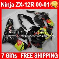Wholesale 7gifts For KAWASAKI NINJA ZX12R Black red Q357 ZX R black yellow ZX R ZX R ZX12 R Fairing