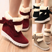 Wholesale Womens Snow Boots Faux Fur Womens Ankle Boots Bowtie Cleated Casual Ladies Warm Outdoor Boots Shoes cotton boots Colours