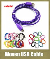 Wholesale Cellphone Woven USB Cable Round Fiber Knit Charger Cord Lead work with V8 micro HTC LC S3 S4 samsung galaxy CAB007