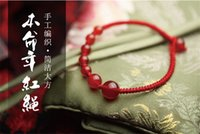 Cheap 2015 New Fashion Jewelry Chinese Style Hand Knitting Red String Agate Bracelet Charms Link Bracelets Chain Bracelets Free Shipping
