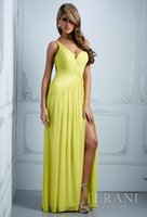good evening - 2014 New Sexy Backless Evening Dress Draped A line Sweep Train V neck Sleeveless Floor Length Tank Good Quality Chiffon Y03