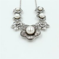 Wholesale Women s Fashion Pearl Statement Necklace Sterling Silver Long Pendant Necklace For Women N25037