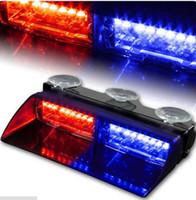 al por mayor 18 llevó la luz estroboscópica azul-16-LED 18 Intermitente Modo Emergencia Dash vehículo Advertencia del flash del estroboscópico Rojo Blanco Azul Ámbar Car Strobe Light Policía Luz Luz delantera