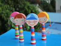 Wholesale 10pcs new arrive popular china rattles baby toys hand shaking drum pull rattle auspicious in stock now D120