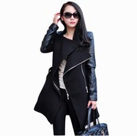 leather trench coat - Fall Winter Clothes for Women New European and American Fashion Patchwork Leather Sleeve Woolen Coat Long Wool Trench Coats for Women