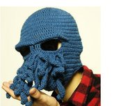 Wholesale DHL SF EMS FedEx Novelty Handmade Crochet Fashion Knitting Wool Funny Beard Winter Octopus Hats caps Christmas Party beanies unisex Gift