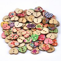 Wholesale 100pcs Mixed Hole Wooden Buttons Heart Pattern Decorative Buttons Fit Sewing DIY Scrapbooking Craft