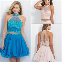 Wholesale Blush Prom Dresses Bling Beading Two Piece Homecoming Dress High Neck Sleeveless Chiffon A Line Mini Short Cocktail Party Gowns