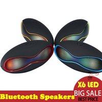 football cards - Mini X6 Football LED speaker Rugby Football Stereo Speaker Mini Portable Soccer Wireless Bluetooth V3 Stereo Subwoofer LED
