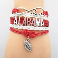 alabama state football - Infinity Love Alabama State Football Sports Team Bracelet red white Customize Sport friendship Bracelets