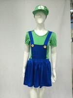 Wholesale green Super Mario Luigi Brothers Sexy Women Ladies Fancy Dress Costume Hen Night Party plus size s xl