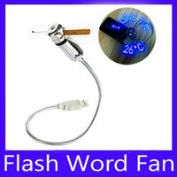 Wholesale Led Flash Fan Mini Word Fan USB clock fan USB temperature fan MOQ
