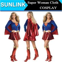 Wholesale Cool Fashion Sexy Supergirl Superwomen Superman Superhero Adult Halloween Costume Cosplay Party Club Dress Uniforms Masquerade Ball