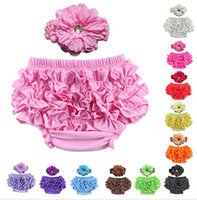 ruffle panties - New fashion baby clothing Colors Cotton Baby Bloomers Bow Headbands Floral Ruffle Baby Girl Panties Bebe Diaper Cover