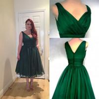 tea length bridesmaid dresses - 2015 Bridesmaid Tea Length Dresses V Neck Zipper Back Dark Green Plus Size Maid of Honor Dress Chiffon A Line Cheap Party Gowns