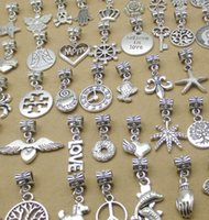 big cross pendant - Silver Bead Pendants Fit For Pandora Bracelets Mix Silver Big Hole Beads Loose Beads Charms For DIY European Necklace Jewelry Accessories