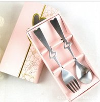 bento box shop - New Lovers Love Hollow Handle Stainless Steel Fork Spoon Drinkware Tableware Spoons Lunch Box Bento Dinner Knives Free Shopping