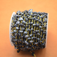 Precio de Chip stone bracelet-Caliente 16 pies de alambre chapado en oro de forma libre piedra negra pedazos de pepita cadena de piedras de cadena collar pulsera hecho a mano encontrar