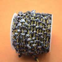 Precio de Chip stone bracelet-Hot 16 Pies alambre plateado oro Envuelto Cadena Freeform Negro Piedra Nugget chips de piedra collar con cuentas pulsera hecha a mano Finding